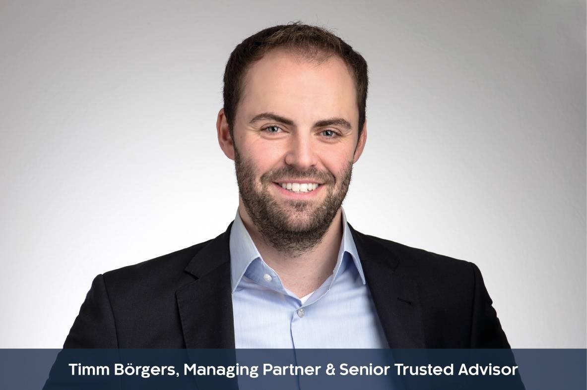 Profilbild mit Unterzeile von Timm Börgers, Managing Partner & Senior Trusted Advisor